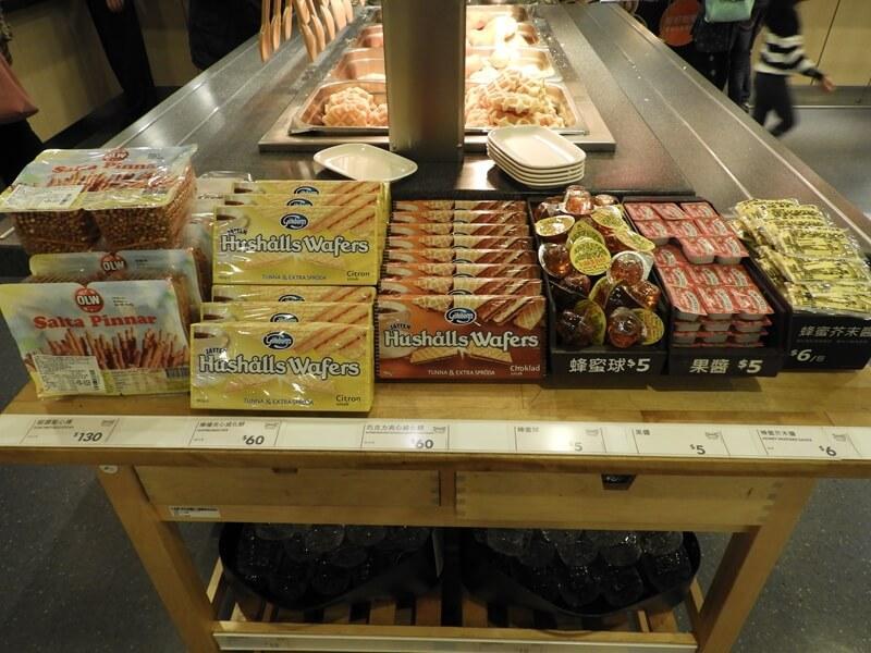 椒鹽點心棒、檸檬夾心威化餅、巧克力夾心威化餅、蜂蜜球、果醬
